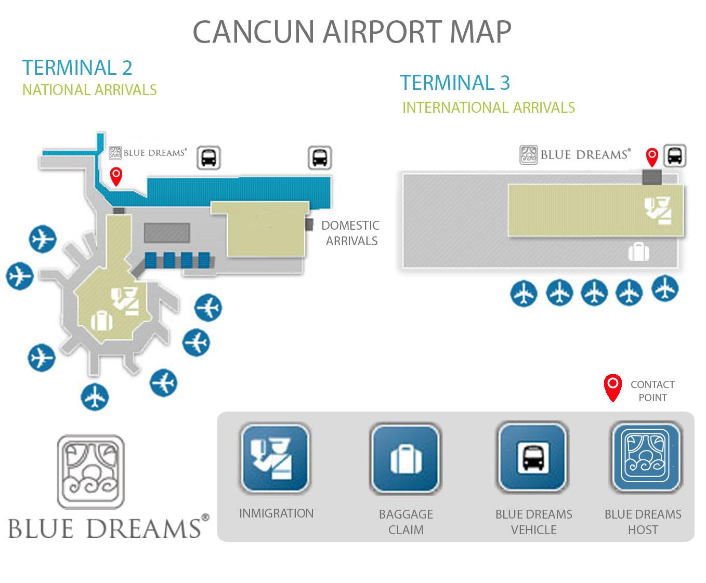 mapa aeropuerto cancun